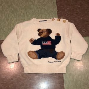 Vtg Ralph Lauren bear sweater baby 3-12 month